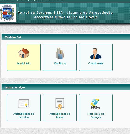 Captura de tela da página do Portal de Serviços